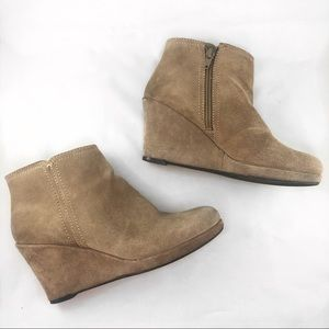 Nine West Tan Suede Leather Wedge Booties / Boots